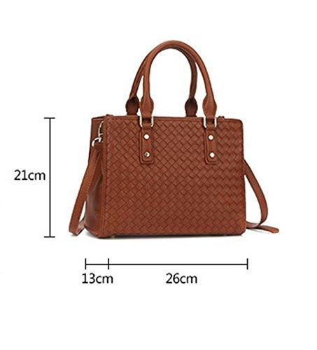 Wilder Einfacher Handgewebter Schulterbeutel Diagonaler Pakethandtaschenhandtasche Brown