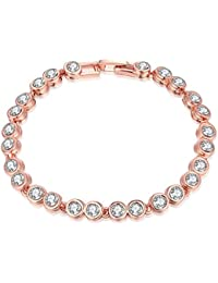 931a4d1d3706 Pulsera de tenis Fjyouria chapada en plata oro de 18 quilates con cristales  de circonita redondos