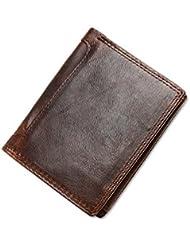 VANCOO,Cartera de piel para hombre, color marrón lujo de cuero marrón 8 tarjeta multifunción de la carpeta para los hombres