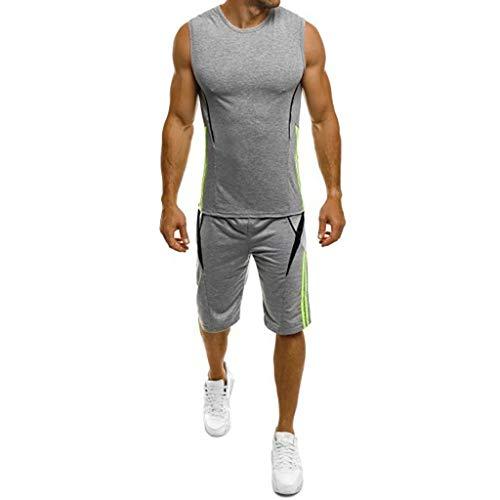Aoogo Herren Tanktop Tank Tops Beiläufiges Dünnes ärmelloses Trägershirt T-Shirt Shorts Hosenanzug Top Bluse Muskelshirt Fitness
