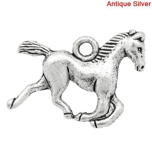 Set mit 10 Anhängern, Charms Pferd Reiten Tiere aus versilbertem Metall - Schmuckherstellung