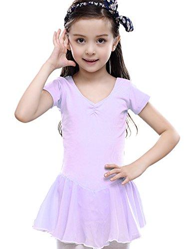 Feoya Mädchen Balletttrikot Kurzarm Ballettkleid Ballettanzug Gymnastikanzug Ballettröckchen Tanzleotard-Lila (Gymnastikanzug Lila)
