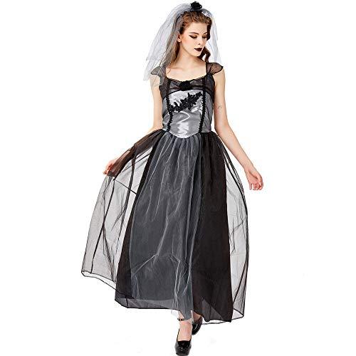 Kostüm Stadt Braut Party - Dame Friedhof Braut Geist Halloween kostüm Party Party Cosplay kostüm Plus größe Schleier + Kleid,Schwarz,L