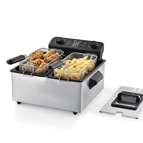 [neu.haus] friggitrice ad olio doppia 2x3 litri 2000w 40 x 40 x 23 cm friggitrice ad immersione acciaio inossidabile nero/argento