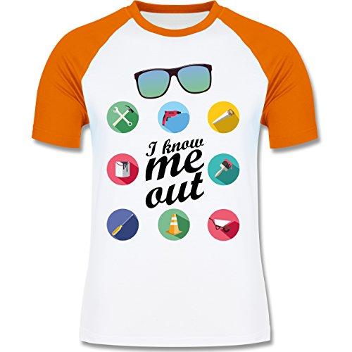 Handwerk - I know me out Handwerker - zweifarbiges Baseballshirt für Männer Weiß/Orange
