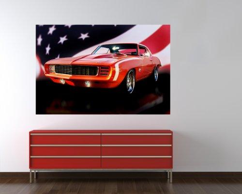 selbstklebende Fototapete - Chevrolet - Camaro - 90x60 cm - Tapete mit Kleber – Wandtapete – Poster – Dekoration – Wandbild – Wandposter – Wand – Fotofolie – Bild – Wandbilder - Wanddeko (Amerikanische Flagge Wand Poster)