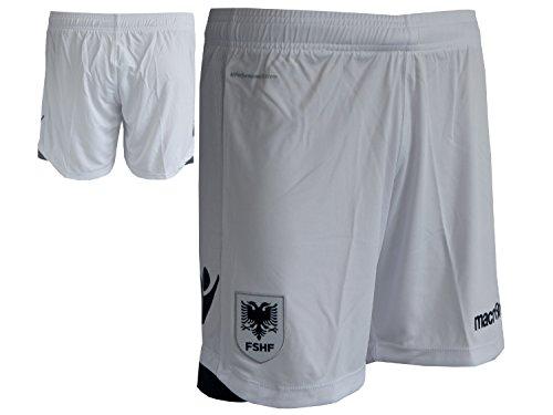 Macron Albanien Away Fußball Short Auswärts Fan Short FSHF Fussball Spielerhose Sporthose Turnhose weiß, Größe:M