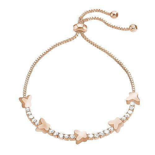 Stroili - bracciale farfalle in metallo rosato e cristalli per donna - romantic shine