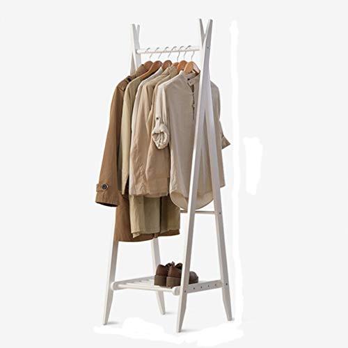 NIUZIMU Kleiderständer Massivholz Garderobe Faltbare Schlafzimmer Büro Bodenaufhänger Modern About Aufhänger Garderobenständer -0889 (Color : White)