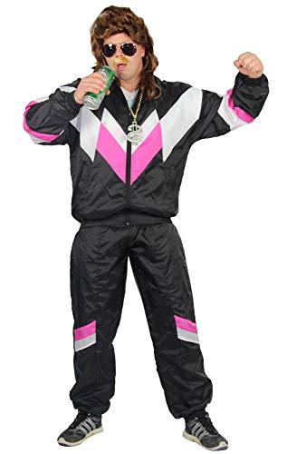 faschingskostuem simpsons Foxxeo 4021x I Deluxe 80er Jahre Kostüm Set für Herren und Damen Trainingsanzug Assi Assianzug Jogginganzug Retro schwarz pink weiß , Größe:L, Perückenfarbe:braun