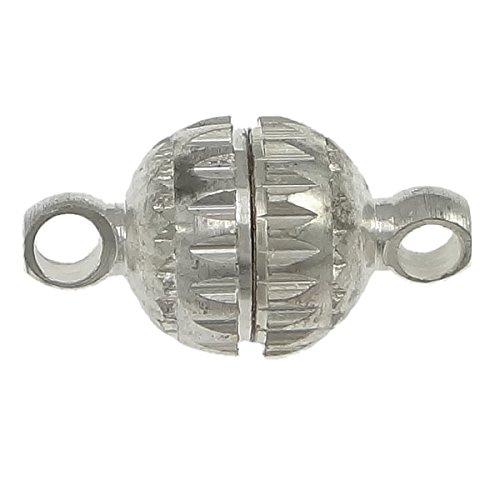 Perlin 5 chiusure magnetiche in ottone, 10 mm, rotonde, con chiusura magnetica, per gioielli e collane, m479, colore: argento