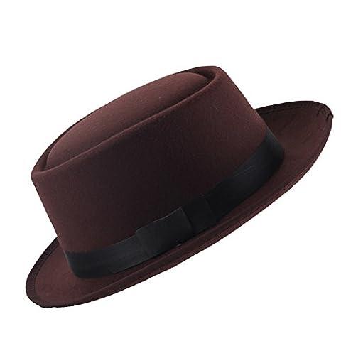 PinzhiEinfachheit British Style Kurzer Brim Jazz Cap Kaffee Fedora Hut für Frauen Männer (Männer Frauen Fedora)