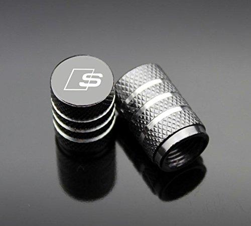 Tech4u 4St Ventilkappen Grau Audi S-line (Aluminium-reifen-felgen)