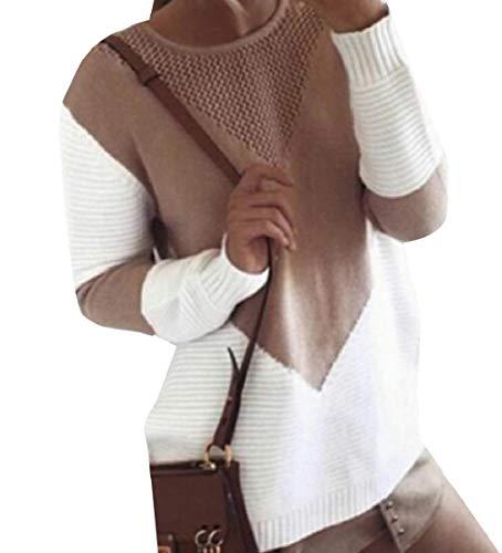 CuteRose Women Long-Sleeve Knitting Hit Color Hollow Out O-Neck Jersey Khaki M -