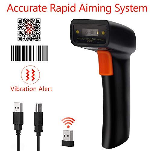 Tera Barcode Scanner wireless kabellos 2D 1D QR usb Handscanner Bildschirm scannen unterstützt, Buzzer, LED Anzeige, Vibration Rückmeldung 3 in 1 automatisches schnelles und präzises Scannen