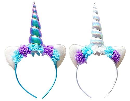 UClever 2pcs Diademas para mujer de Unicornio y Orejeras Decoración de Pelo de Fiesta (Model A)