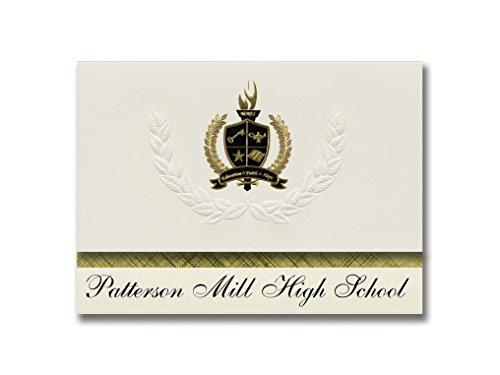 Signature Announcements Patterson Mill High School (Bel Air, MD) Abschlussankündigungen, Präsidential-Stil, Grundpaket mit 25 goldfarbenen und schwarzen metallischen Folienversiegelungen