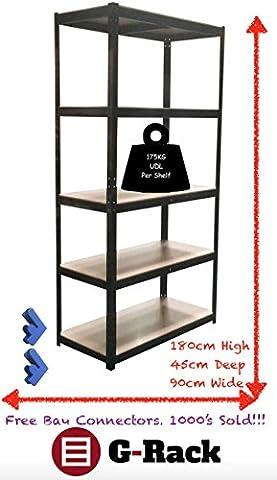 180cm x 90cm x 45cm, schwarz 5Etagen (175kg Pro Regal),
