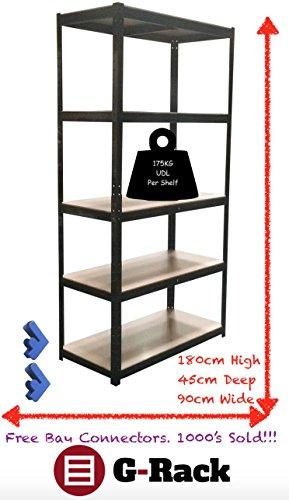 180cm x 90cm x 45cm, 5Etagen (175kg Pro Regal), 875KG Kapazität Garage Regalen Einheiten, 5Jahre Garantie (Garage-rack-system)