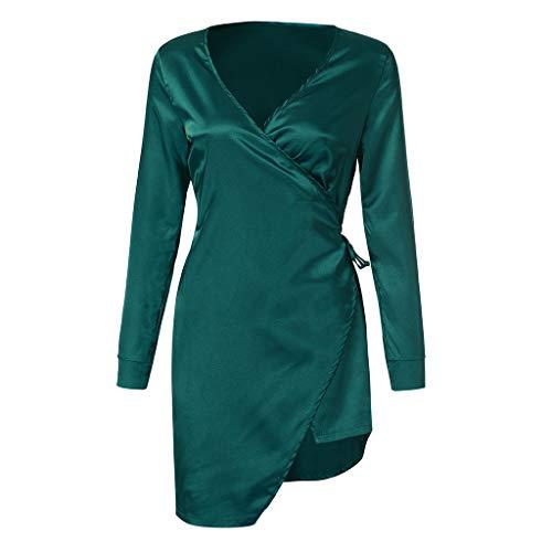 Belted Kostüm Lace - DOLDOA Damen Schlafanzug Frauen Sexy Kleid Babydoll Nachtwäsche Roben Langarm High Slit Belted Nachtwäsche (L, Grün)