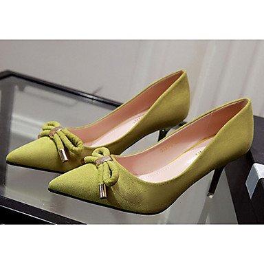 Moda Donna Sandali Sexy donna caduta tacchi Comfort Felpa casual Stiletto Heel Bowknot nero / giallo / il verde / rosa / grigio altri Green