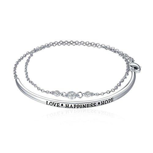 """Gravur """"Liebe"""" Happiness Hope 925Sterling Silber Zirkonia inspirierendes Zitat Bar MULTILAYER Armband für Frauen"""