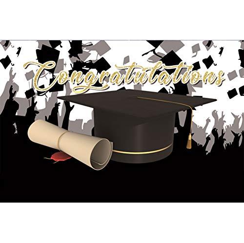 ss Hintergrund Abschlusszeit Schwarze Silhouette Feiern Sie den Abschluss Bachelor Cap Diplom Hintergrund Student Abschluss Prom Klassenzimmer Dekor Fotografie ()