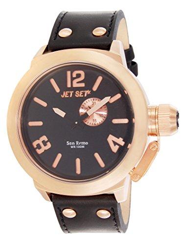 Jet Set–j1142r-267–San Remo–Men's Watch–Analogue Quartz–Black Dial–Black Leather Strap