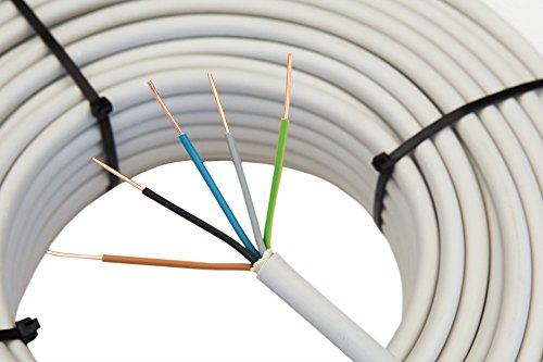 Mantelleitung 5x1,5 mm², 50m 5 adriges Installationskabel in grau, NYM-J Kabel, PVC Mantel, Stromkabel für feste Verlegung und Installation in Trockenräumen • Feuchträumen • Mauerwerk und Beton, elektrische Leitung für 300V/500V