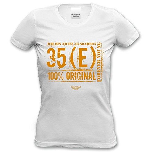 Geschenkidee Frauen Geschenk zum 40. Geburtstag :-: Damen kurzarm T-Shirt Ich bin nicht 40 :-: Geburtstagsgeschenk Mama Schwester Freundin Farbe: weiss Weiß