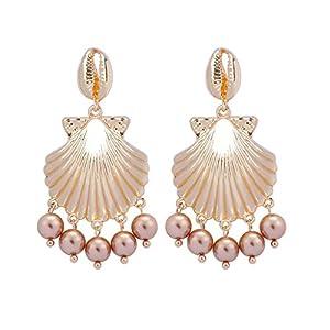 Masoness Schmuck Süßwasser Perle Metall Muschel Anhänger Ohrringe Damen Schmuck,Süßwasser Perle Metall Muschel Anhänger Ohrringe Damenschmuck
