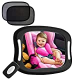 FITNATE Led Baby Car Mirror 360° Rotatable BIG CLEAR Rear view Facing Newborn Infant with 2 Car Sun Visors