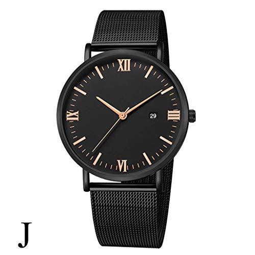 Yallylunn Luxury Fashion Stainless Steel Mesh Belt Watch Mens Quartz Calendar Watches Dating Party Klassik WiderstandsfäHigkeit Den TäGlichen Verschleiß Bequem