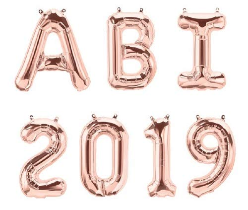 XXL Folien-Ballons ABI 2019 rosé-gold Buchstaben-Girlande Luft-Ballons Schriftzug Höhe 35cm Abitur Schul-Abschluss Abi-Party Feier Schul-Ende Gymansium Matura Diplom Reife-Prüfung Raum-Deko-ration