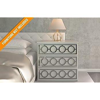 Porto Laubschnittwerk   Geeignet für IKEA Malm   Farbe: Weißes PVC/Repaintable, goldener Spiegel, silberner Spiegel oder gebürstetes Silber