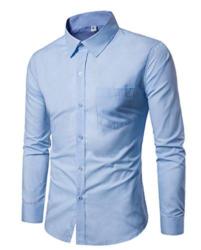 Haroty uomo camicie slim fit maniche lunghe taglie forti moda casual men shirts un colore solido basic (xxxl, azzurro)