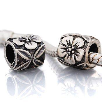 Andante-Stones 925 Perlina d'argento colonna con fiori e quadrifoglio inciso elemento pallina per bracciale modulare European Beads + sacchetto di organza