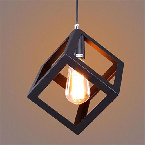 Edison Filament Hanging Cube, E27 Holder, Decorative, Black color, with...