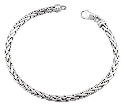 Orleo - REF5016BB : Bracelet Femme Or 18K blanc - Maille Palmier