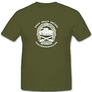 PzGren Panzergrenadier Dran Drauf Drüber Wappen Barettabzeichen - T Shirt #5293, Größe:XXL, Farbe:Oliv