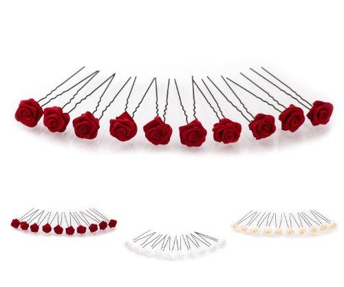 10 épingles à cheveux ornées de roses - accessoire pour coiffure avec du volume/de mariée - Épingle à cheveux noire - rouge bordeaux