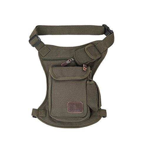 Wewod Herren Outdoor Leinwand Einfarbige Bauchtasche Multifunktionale Hüfttasche Outdoor-aktivitäten Belt Bag (Grün) Gr¨¹n Verbesserte