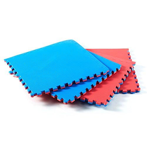 Bodenmatte Puzzle 4er Set - je 61 x 61 x 2 cm - Jalano Puzzlematte Fitness Yoga Karate Judo Turnen mit Randleisten Spielmatte in 2 Farben (rotblau) (Gymnastik-matte 4x8)