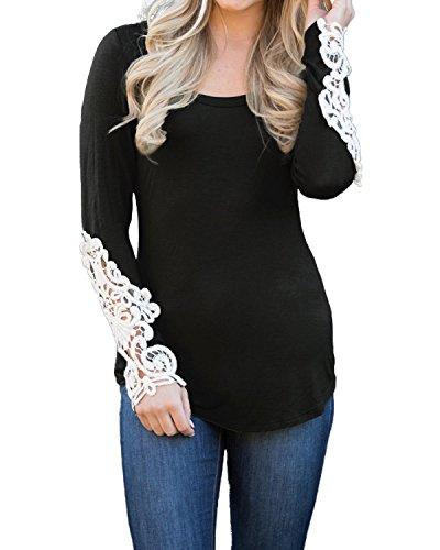 StyleDome Mujer Camiseta Mangas Largas Invierno Cuello Redondo Blusa Algodón Encaje Negro L