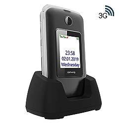 """Ukuu 3G Klapphandy Senioren mit Großen Tasten und ohne Vertrag 2,8""""+1,77"""" Dual Display Seniorenhandy mit Farbdisplay und Taschenlampe Schwarz Mobiltelefon"""