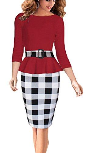 Smile YKK Rundhals 3/4 Ärmel Damen OL Stil Party Kleid Cocktailkleid Business kleid Schlank Bodycon Etuikleid Schlauch kleid Schößchen kleid Rot
