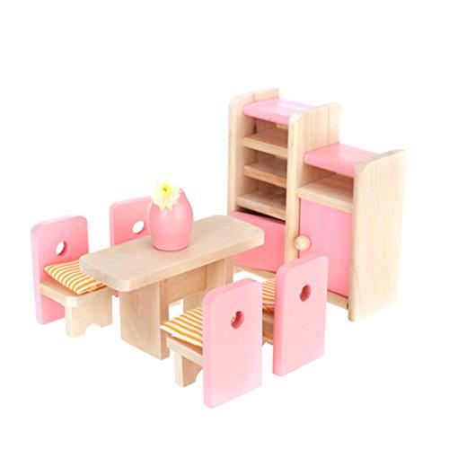 perfeclan 1/12 Puppenhausmöbel Esszimmer Möbel aus Holz, inkl. Tisch, Stühle mit Kissen, Schrank, Vase mit Blume - Schönen Speisesaal Möbel