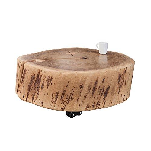 Rustikaler Couchtisch (Rustikaler Couchtisch GOA 65 cm Akazie Massivholz mit Rollen Unikat Holztisch Tisch Beistelltisch)