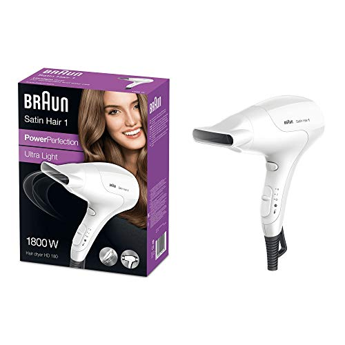 Braun Satin Hair 1 PowerPerfection Haartrockner HD180, mit Stylingdüse, 1800 Watt, weiß