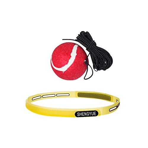 DAZISEN Fight Ball Reflex con Diadema - Punching Ball Portátil Entrenamiento de Boxeo Mejore la Velocidad y Agilidad Ejercicio Fitness Adulto Niños, Tenis Rojo